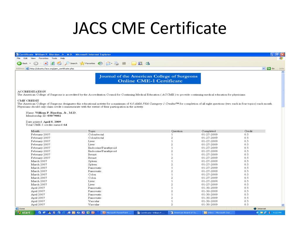JACS CME Certificate