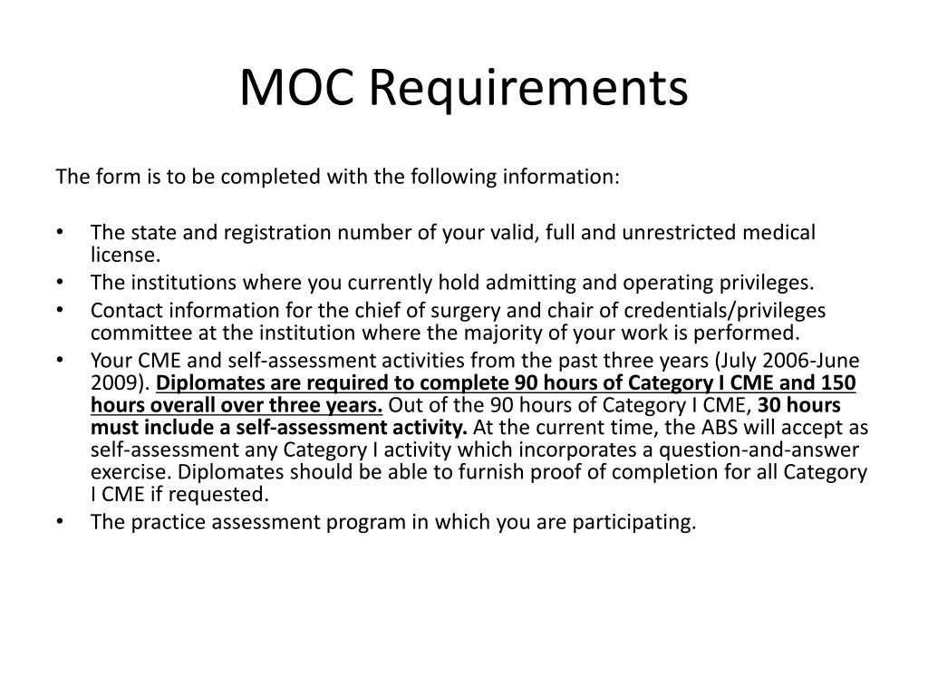 MOC Requirements