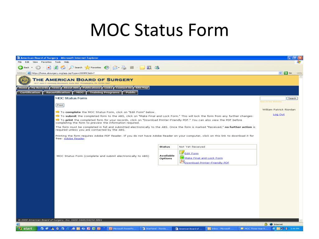 MOC Status Form