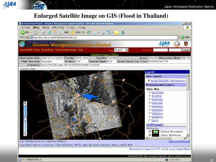 Enlarged Satellite Image on GIS (Flood in Thailand)
