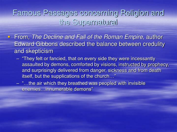 Famous Passages concerning Religion and the Supernatural