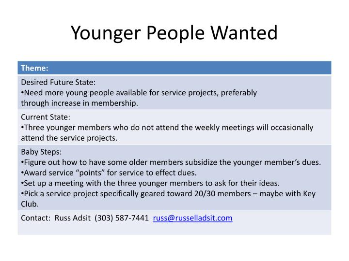 Younger People Wanted
