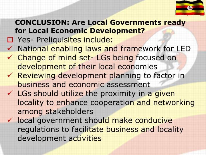 CONCLUSION: Are Local Governments ready for Local Economic Development?