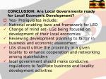 conclusion are local governments ready for local economic development