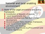 national and local enabling environment