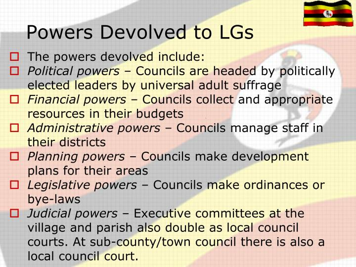 Powers Devolved to LGs