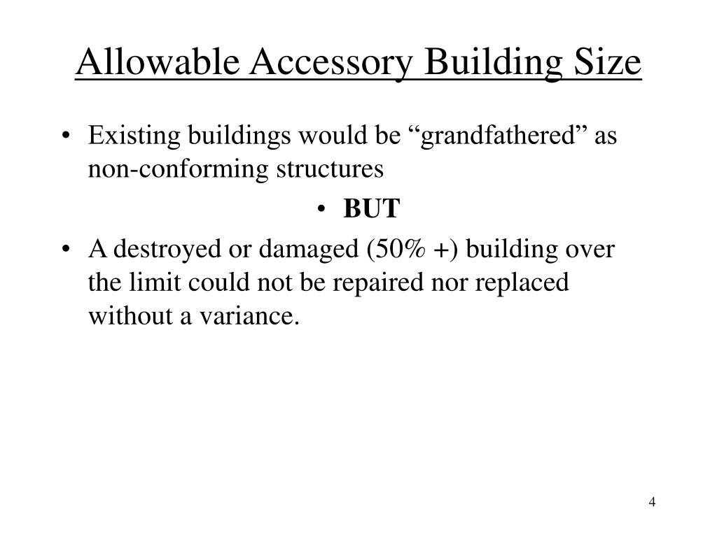 Allowable Accessory Building Size