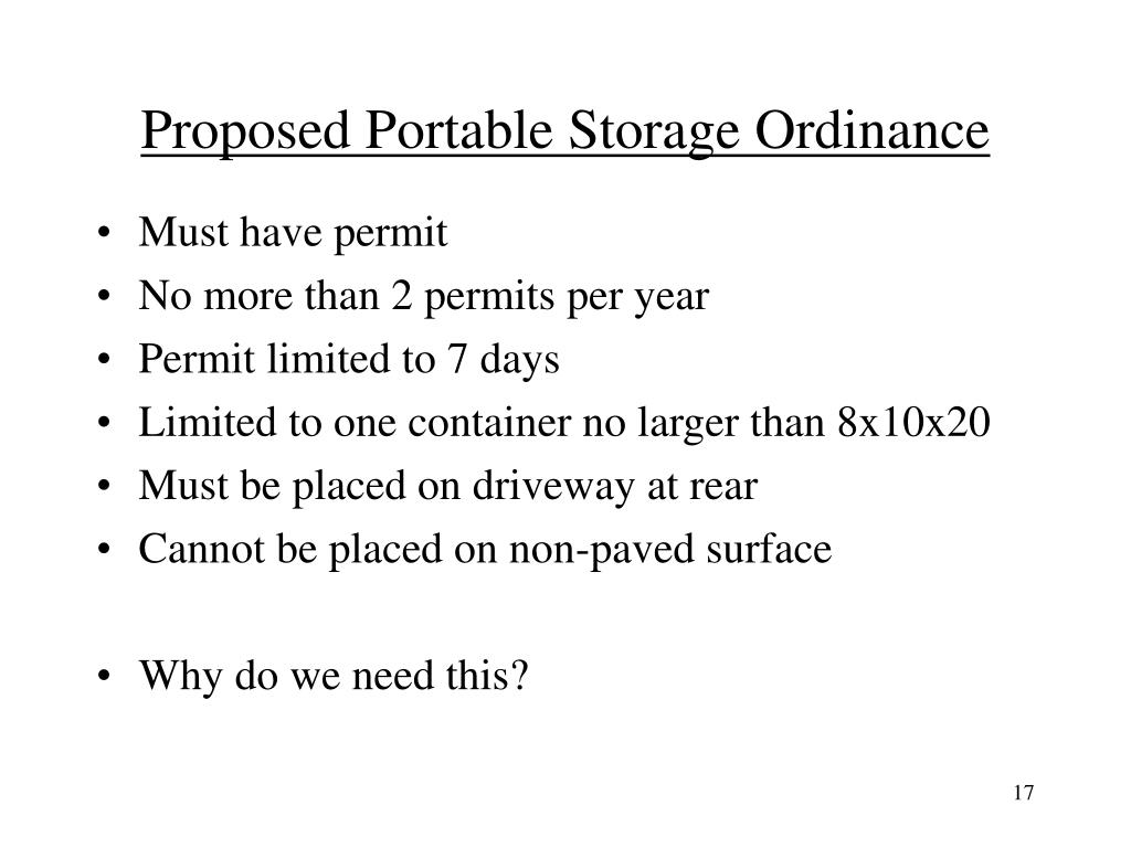 Proposed Portable Storage Ordinance
