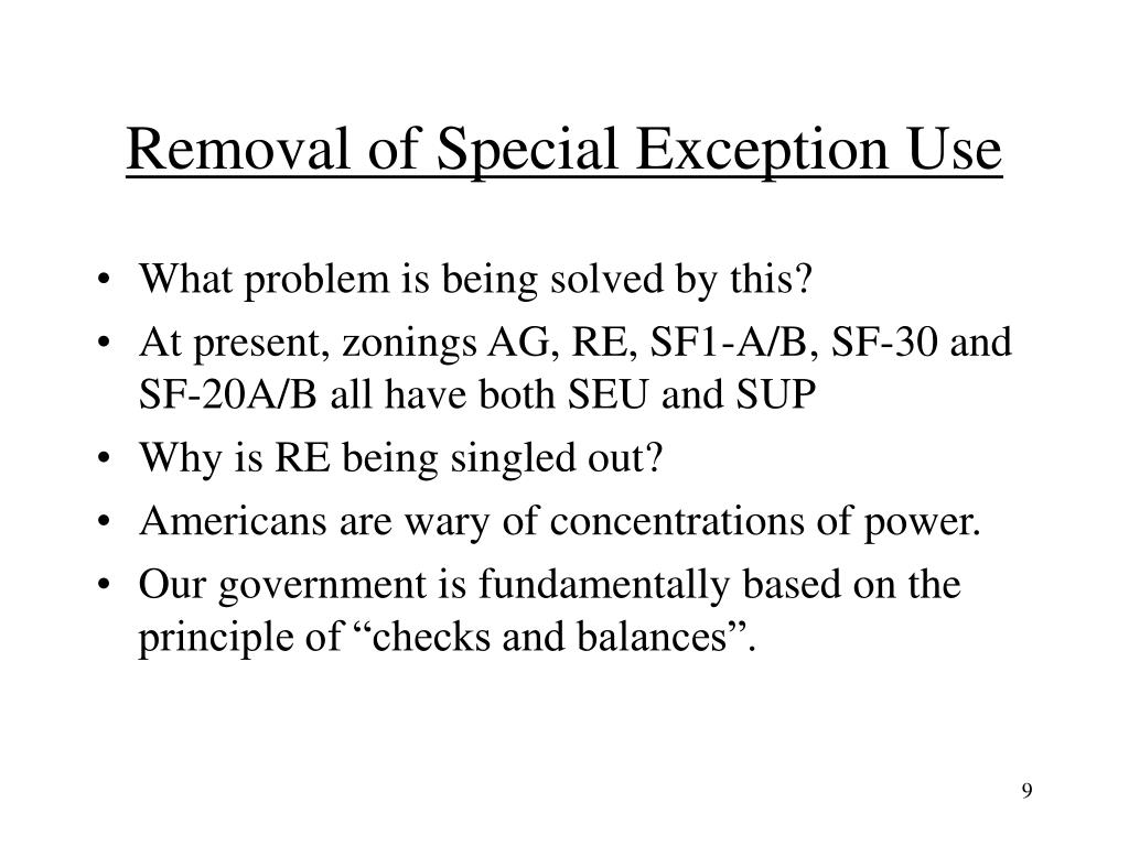 Removal of Special Exception Use