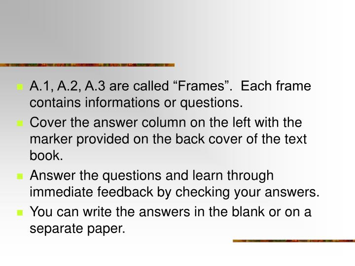 """A.1, A.2, A.3 are called """"Frames"""".  Each frame contains informations or questions."""