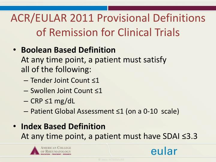 ACR/EULAR 2011 Provisional Definitions