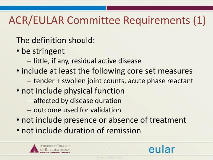 ACR/EULAR Committee Requirements (1)