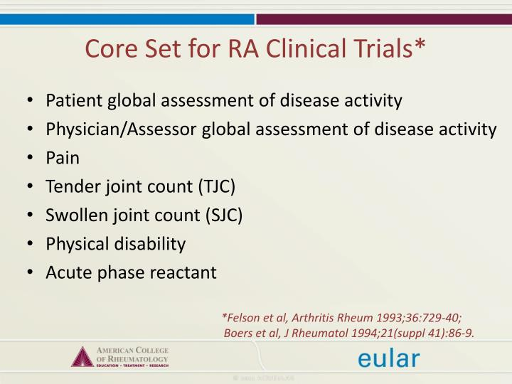 Core Set for RA Clinical Trials*