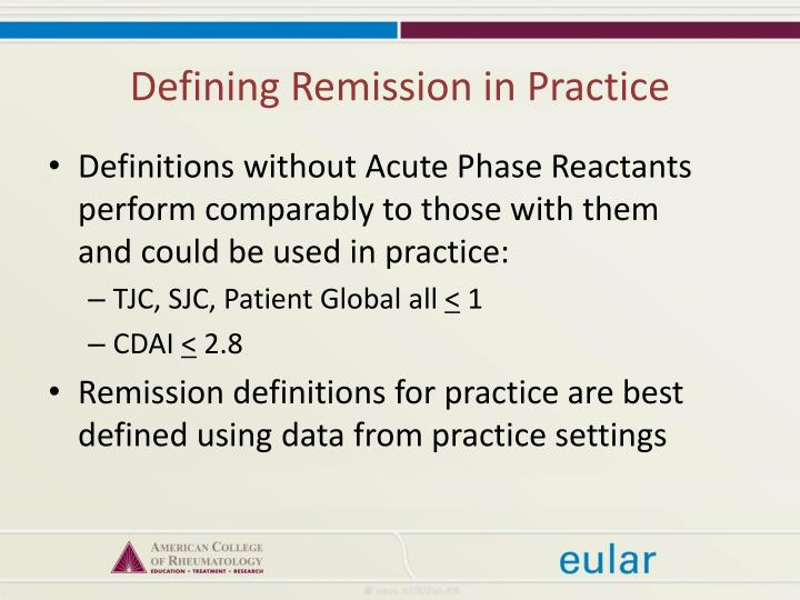 Defining Remission in Practice