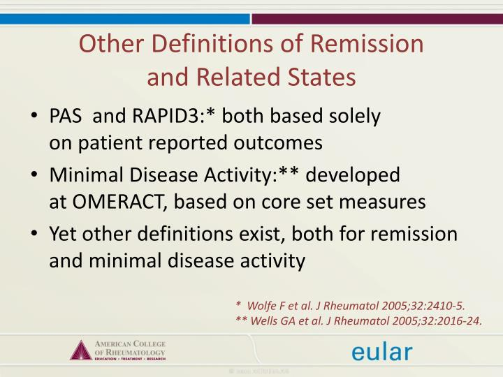 Other Definitions of Remission