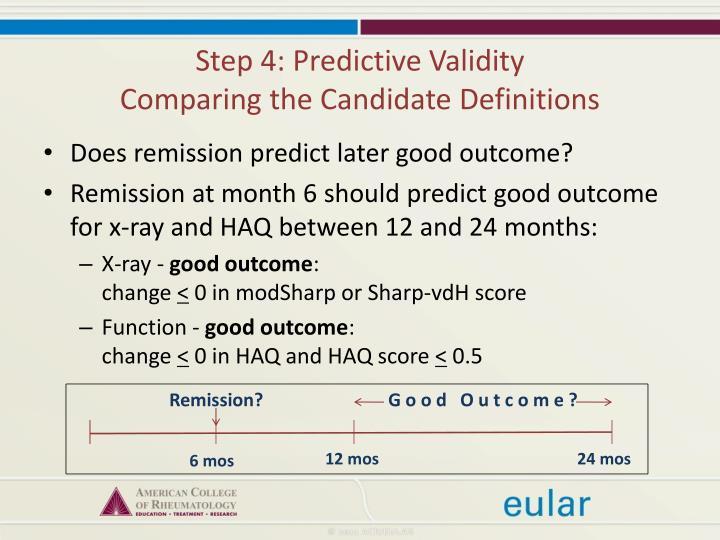 Step 4: Predictive Validity
