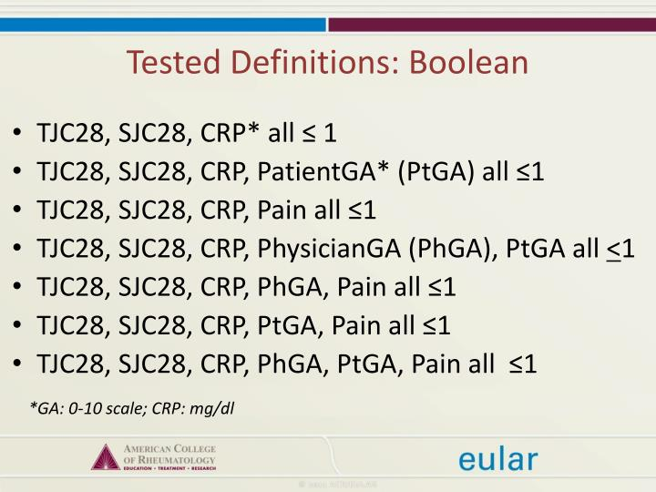 Tested Definitions: Boolean