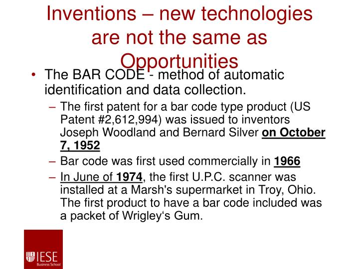 Inventions – new technologies are not the same as Opportunities