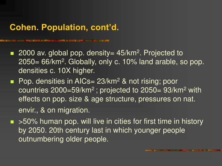 Cohen. Population, cont'd.