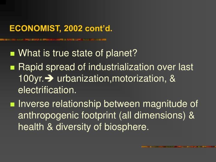ECONOMIST, 2002 cont'd.