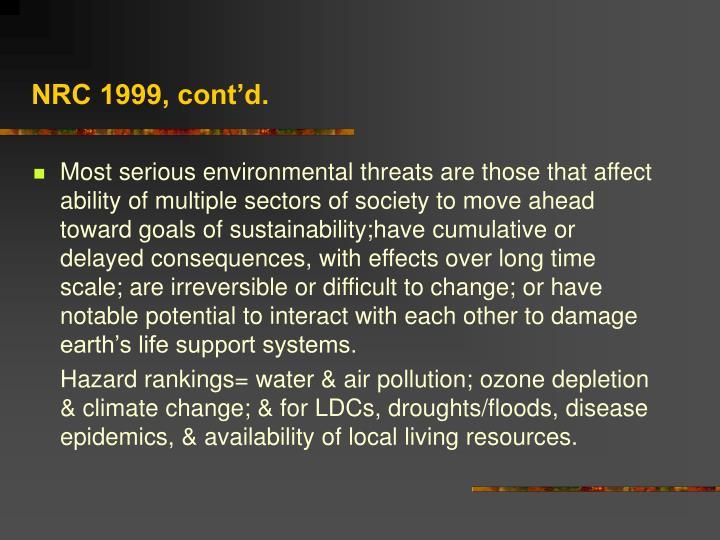 NRC 1999, cont'd.