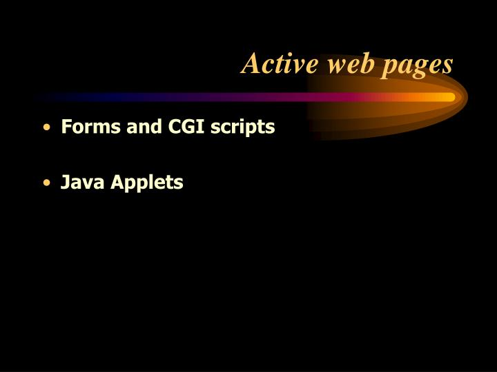 Active web pages