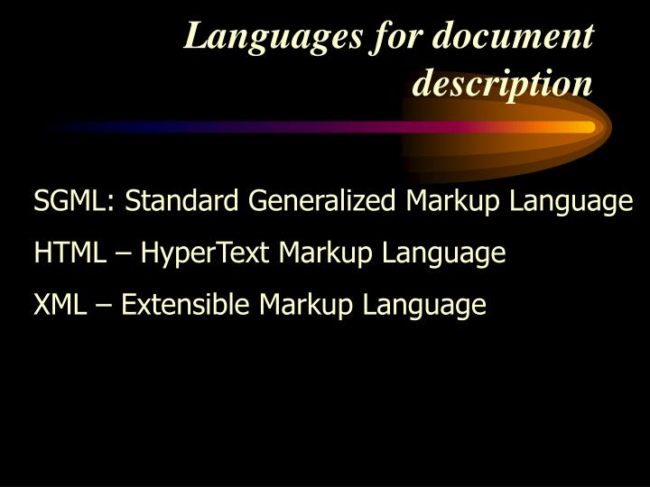Languages for document