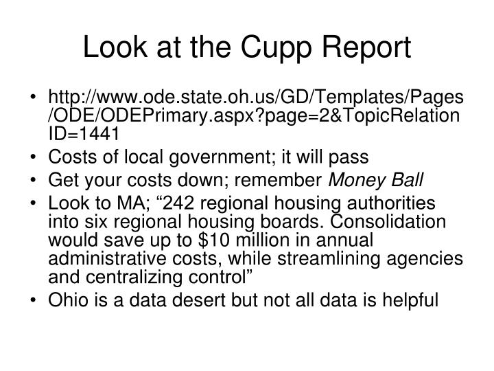 Look at the Cupp Report