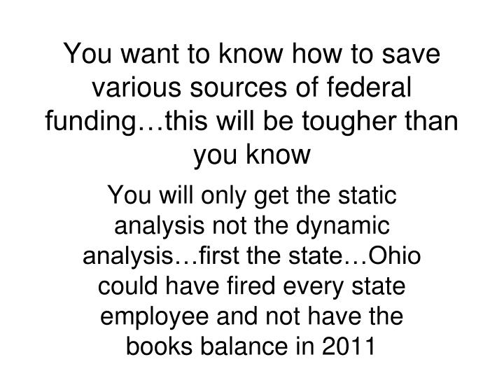 You want to know how to save various sources of federal funding…this will be tougher than you know