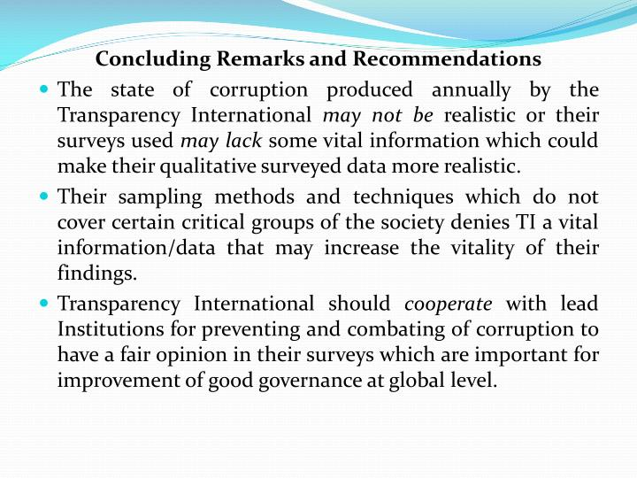 Concluding Remarks and Recommendations
