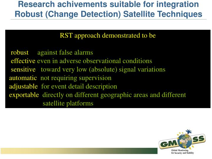 Research achivements suitable for integration