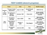 test cases done in progress