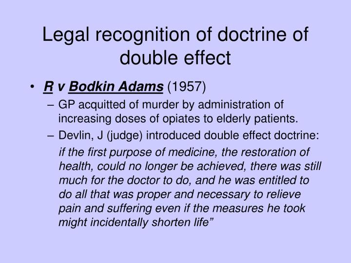 Legal recognition of doctrine of double effect