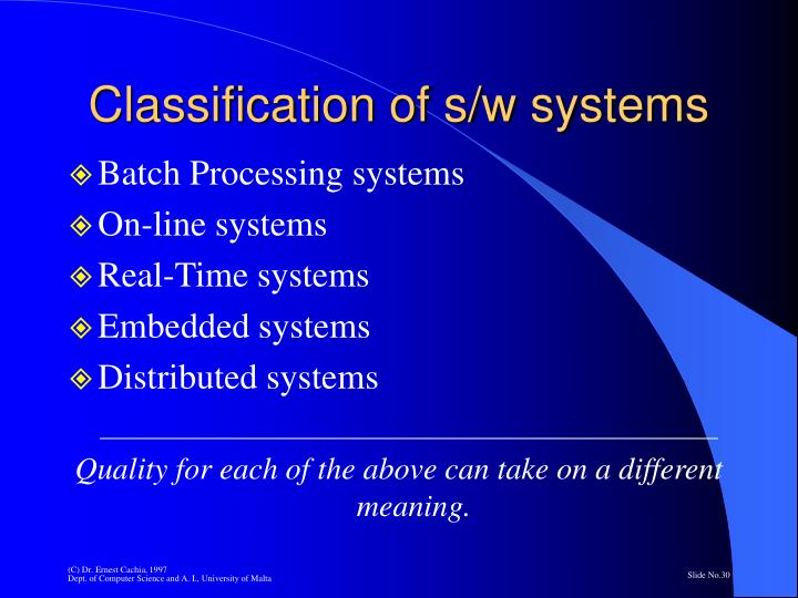 Classification of s/w systems