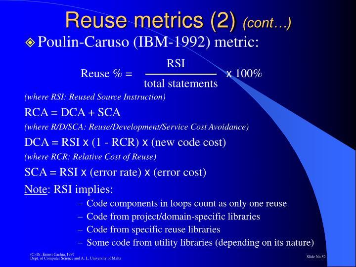 Reuse metrics (2)