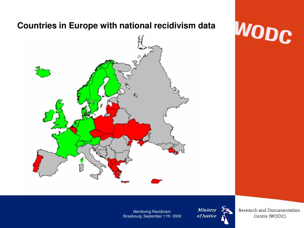 Countries in Europe with national recidivism data