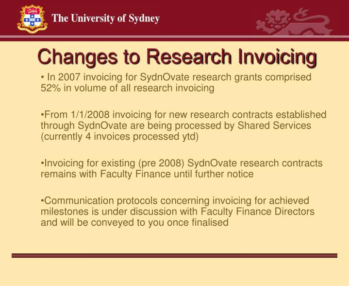 Changes to Research Invoicing
