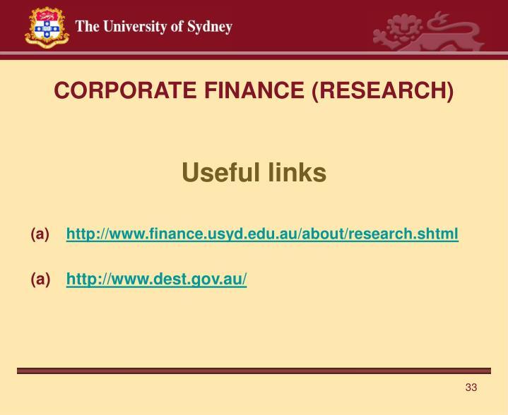CORPORATE FINANCE (RESEARCH)
