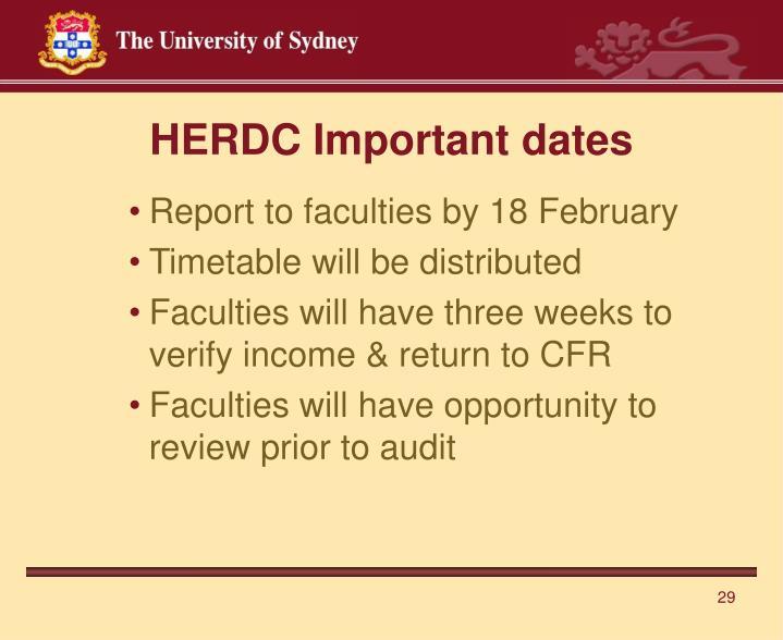 HERDC Important dates