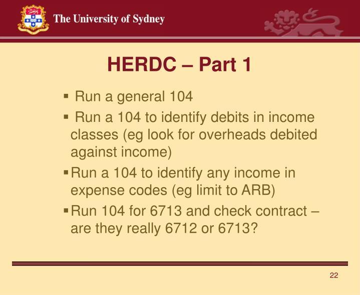 HERDC – Part 1