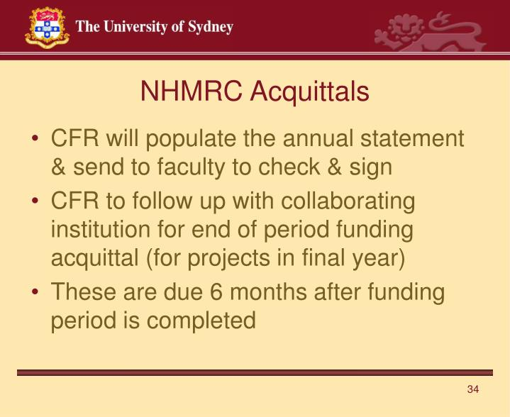 NHMRC Acquittals