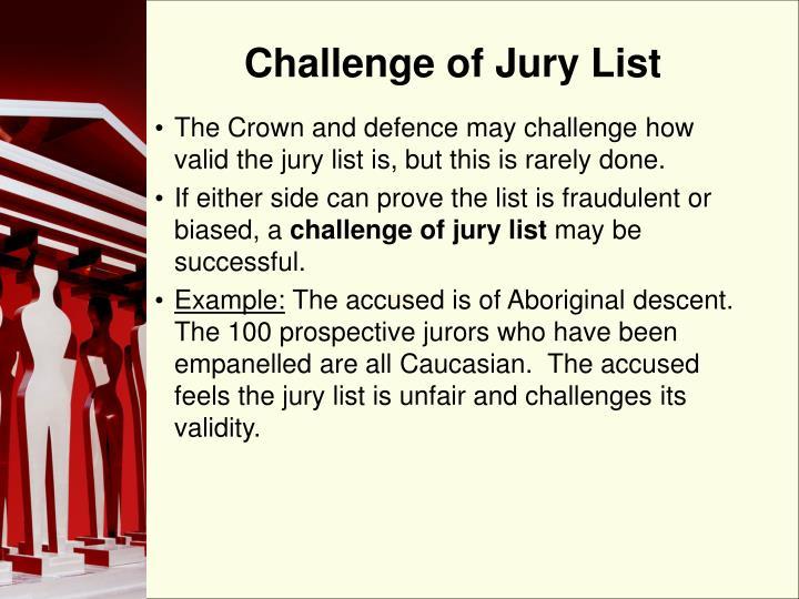 Challenge of Jury List