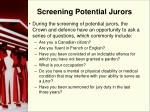 screening potential jurors