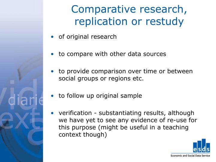Comparative research, replication or restudy