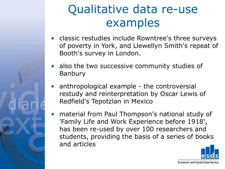Qualitative data re-use examples
