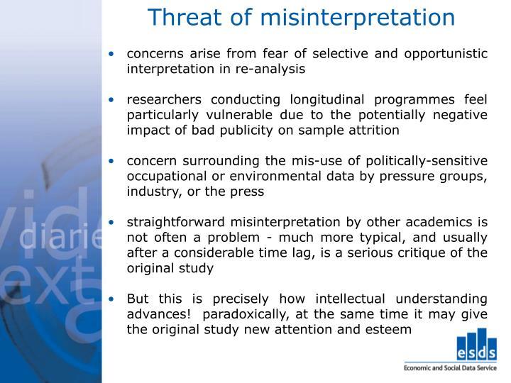 Threat of misinterpretation