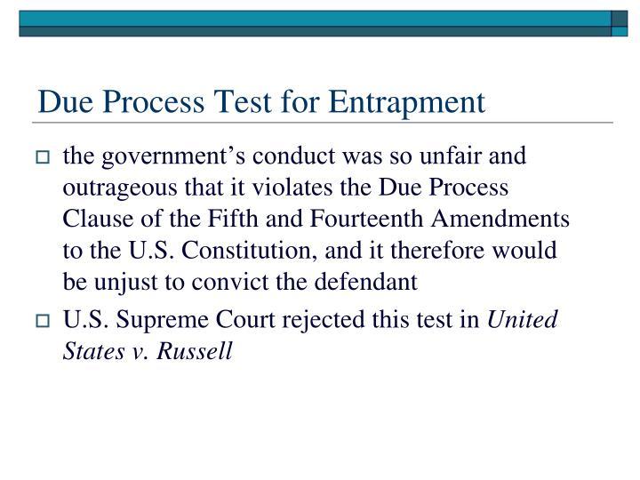 Due Process Test for Entrapment