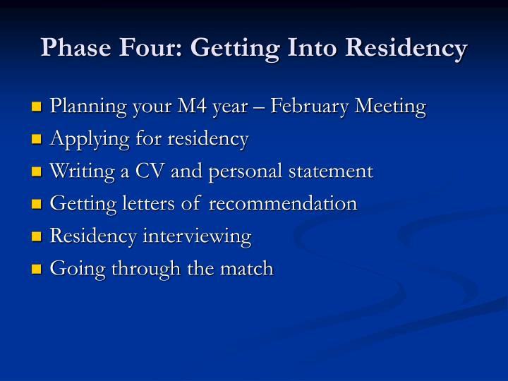 Phase Four: Getting Into Residency