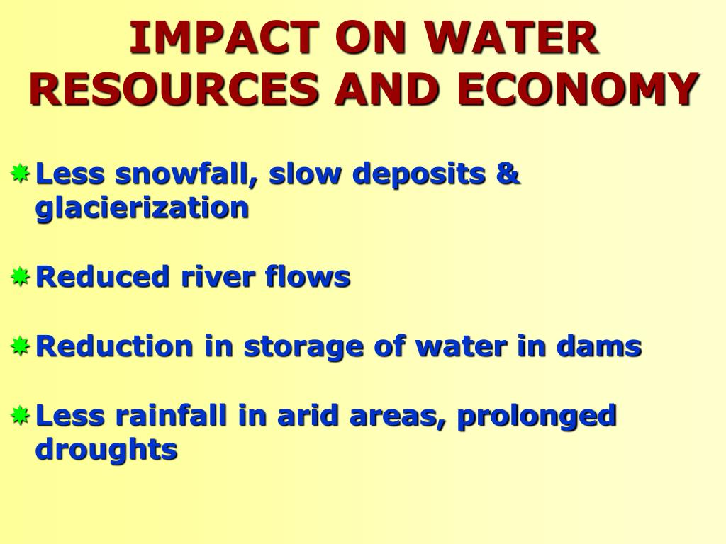 IMPACT ON WATER RESOURCES AND ECONOMY