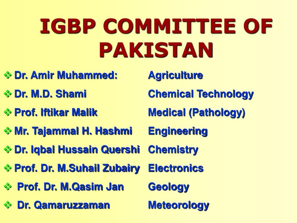 IGBP COMMITTEE OF PAKISTAN